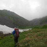 源頭上部の雪渓