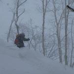 1/26山岳スキー指導員講習会(羊蹄山)小雪の中を滑る。雪は良い。