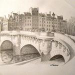 """""""Le Pont Neuf"""" China e matita su carta - 2011 - Collezione privata"""