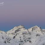 Eintretende blaue Stunde am Allalinhorn, Rimpischhorn und Strahlhorn