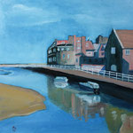 BLAKENEY Norfolk, England (2014), 40 cm x 40 cm, Öl auf Malplatte / oil on canvas panel. Nach einer Fotografie des britischen Fotografen Mark Oaden. // Coastal village in Norfolk. With kind permission by Mark Oaden.