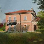 HAUS AM SAN SALVATORE (2009), Öl auf Malplatte / oil on canvas panel, 18 cm x 13 cm. Villa oberhalb von Lugano-Paradiso // Villa near Lugano-Paradiso