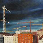 KRANLANDSCHAFT (2011), Öl auf Leinwand / oil on canvas, 100 cm x 40 cm. Bauarbeiten beim Zürcher Hauptbahnhof / Construction site near Zurich Main Station  *VERKAUFT/SOLD*