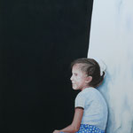 MÄDCHEN AUF MAUER (2009), Öl auf Leinwand / oil on canvas, 70 cm x 100 cm. Das Mädchen habe ich 1987 in Buchara fotografiert // The photography of the Girl was taken in Buchara in 1987 *NOT FOR SALE*
