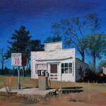 VERLASSENE TANKSTELLE, North Carolina USA (2014), Öl auf Malplatte / oil on canvas panel, 30 cm x 24 cm. Nach einer Fotografie von Carol M. Highsmith / With kind permission by the photographer