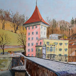 BERN Untertorbrücke (2015), 40 cm x 30 cm, Oel auf Malplatte / Oil on canvas panel