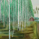 BIRKENWALD, Norwegen (2013), Öl auf Leinwand / oil on canvas, 100 cm x 40 cm