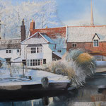 """PULL'S FERRY Norwich (Norfolk), England (2014), 120 cm x 80 cm. Nach einer Fotografie des Briten Tom Mackie // With kind permission of the photographer  *VERKAUFT/SOLD"""""""