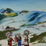 ALTER SILVESTER URNÄSCH (2009), Öl auf Malplatte / oil on canvas panel, 30 cm x 24 cm. Nach Motiven des Appenzeller Brauchtums // Based on own photographs from the tradition of the Urnäsch Silvesterkläuse, a custom over 200 years old  *VERKAUFT/SOLD*