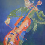 Cellist, Öl auf Leinen, 100 x 100 cm