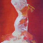 Flamenco, Öl auf Leinen, 100 x 50 cm