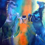 Zusammenspiel, Öl auf Leinen, 100 x 100 cm