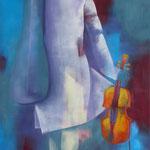 Konservatorium I, Öl auf Leinen, 100 x 50 cm