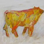 Stier 5,     28x35,     Öl auf Papier, 2014