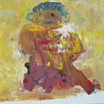 """la jeune fille armèe - 2"", Monotypie auf Karton, 20x20, 2019"