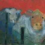 Am Zaun,     100x120,     Mischtechnik auf Leinwand, 2001