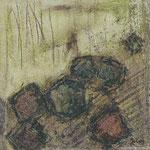 Achsteine IV,     20x20,     Mischtechnik auf Papier, 1996