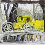 Farmhaus 2,   26x29,   Übermalung, Acryl auf Papier,   2015