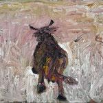 Kuh I, schreitend,   60x80,   Öl auf Leinwand,  2009