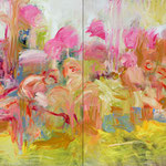 """The Gang (pink flamingos)"", 2020, 100x160, Öl auf Leinwand"
