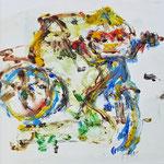 """""""la jeune fille armèe - 8"""", Monotypie auf Steinpapier, 20x20, 2019"""