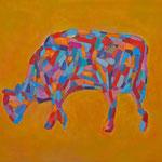 Kuh 8,     35x44,     Öl auf Papier, 2014