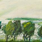 Grüne Bäume,   37x54,   Öl auf Leinwand,   2016