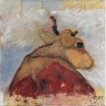 Liegende II,     40x40,     Mischtechnik auf Leinwand, 2001