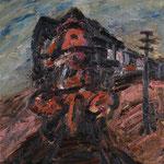 Lok im Sommer,     51x44,     Öl auf Leinwand, 2009