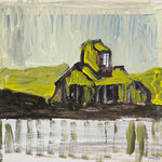 Farmhaus 1,   26x29,   Übermalung, Acryl auf Papier,   2015