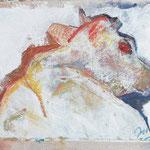 Liegende I,     28x41,      Mischtechnik auf Jute, 2001