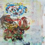 """la jeune fille armèe - 4"", Monotypie auf Karton, 20x20, 2019"