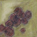 Achsteine V,     20x20,     Mischtechnik auf Papier, 1996