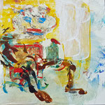 """la jeune fille armèe - 3"", Monotypie auf Karton, 20x20, 2019"