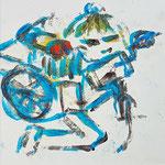 """""""la jeune fille armèe - 9"""", Monotypie auf Steinpapier, 20x20, 2019"""