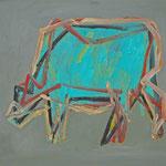 Kuh 1,     35x44,     Öl auf Papier, 2014