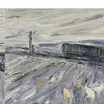 Der grüne Waggon,     50x160,     Öl auf Leinwand, 2009