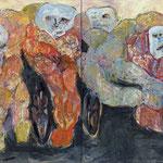 """""""The Gang (waiting)"""", 2020, 100x160, Öl auf Leinwand"""