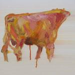 Stier 3,     28x35,     Öl auf Papier, 2014