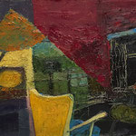"""""""Interieur(Abend)"""", 2021, 38x48, Öl auf Leinwand"""