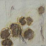 Achsteine I,     20x20,     Mischtechnik auf Papier, 1996