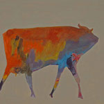 Kuh 3,     35x44,     Öl auf Papier, 2014