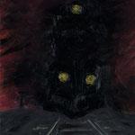 Geisterfahrt II,     55x50,     Öl auf Leinwand, 2009
