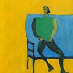 """""""Seated #17"""", 2019, 54x45, Öl auf Leinwand"""