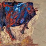 Kuh III schreitend,     60x73,     Öl auf Leinwand, 2013