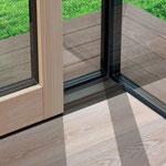 Rejtett keretes üvegfal belső padló csatlakozás