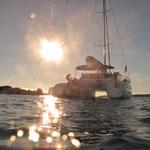 Bahia 46 Katamaran vor Anker in Kroatien