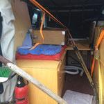 Umbau des Fahrzeuges für den Schiffstransport