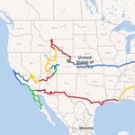 Reisestrecke; jede Farbe entspricht einem Reisebericht