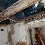 Deckenöffnung im Treppenbereich während der Bauphase